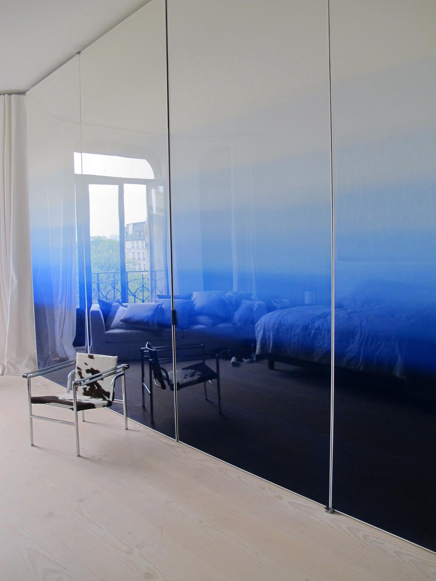 Mur paravent en dégradé bleu