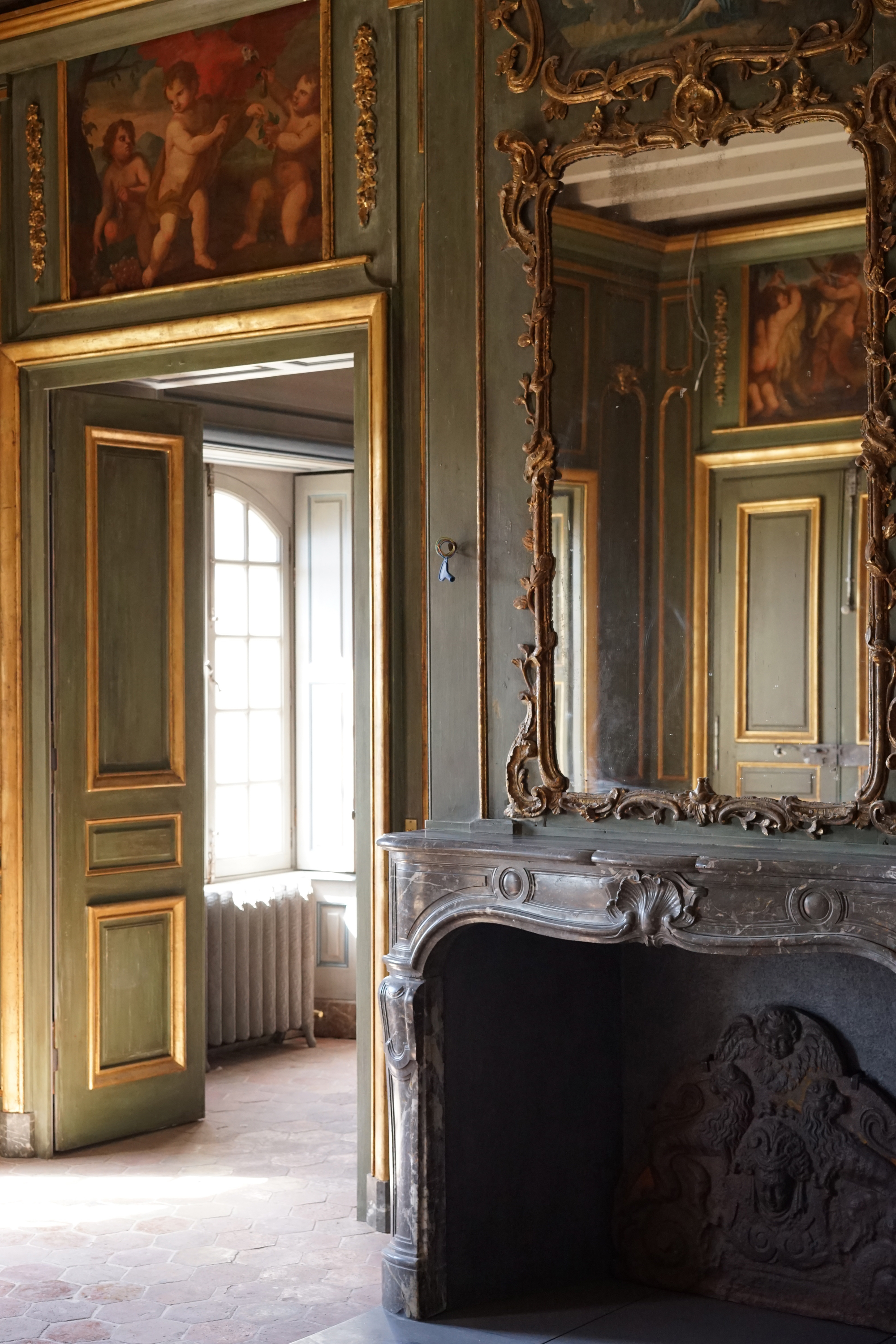 17e century paneled boiserie green and gilded