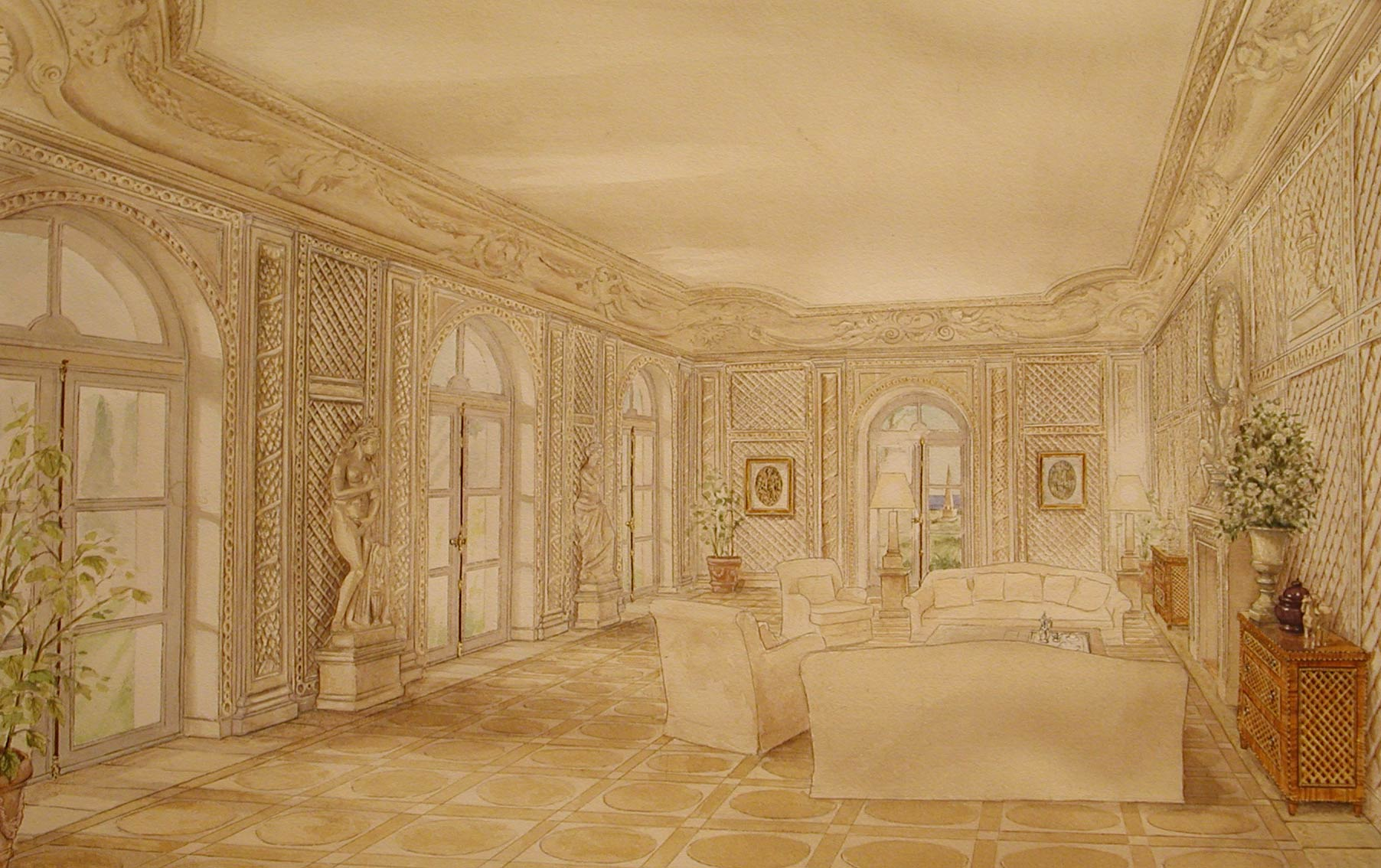 Watercolor - preview of a futur decor - Poolhouse on French Riviera